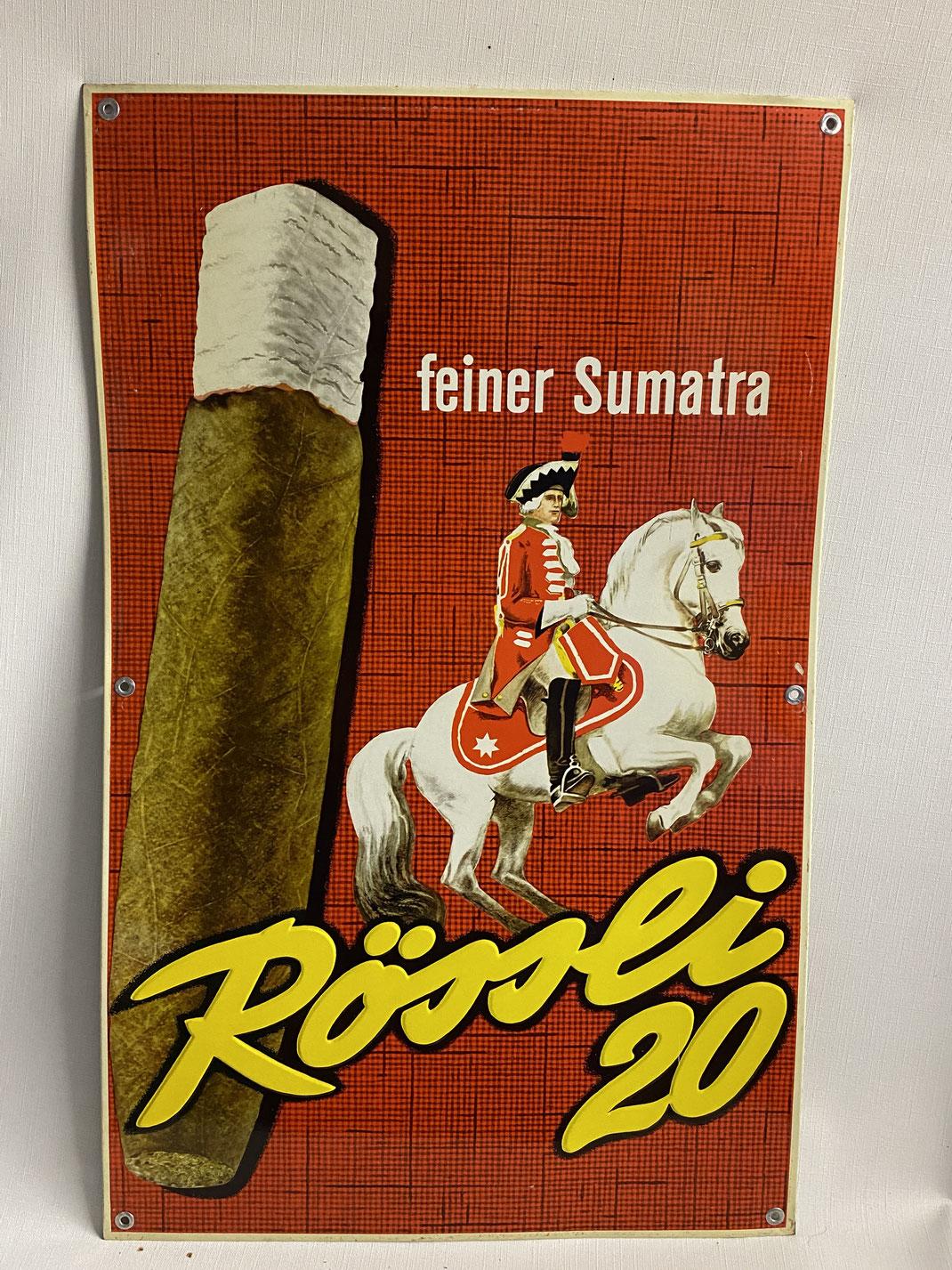 Rössli 20 feiner Sumatra Blechschild aus den 1950er Jahren