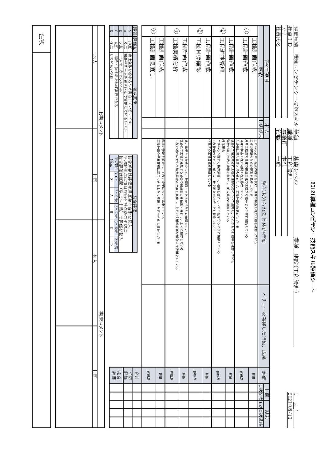 職種コンピテンシー評価シート(営業)