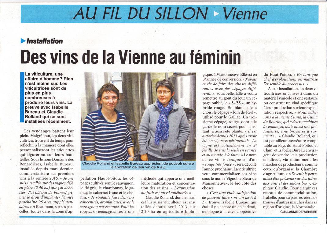 Domaine des renardières, article de la Vienne Rurale du 2 Octobre 2015