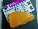 zertifizierter gelber Saphir (Rohstein), knapp 100g