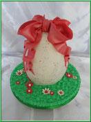 Tutoriel pour réaliser et décorer un gâteau en forme d'oeuf de Pâques en 3D, pâte à sucre, cake design
