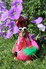 Betonhuhn, Knetbeton, Deko Garten, Funky Chicken, Seidenhühner