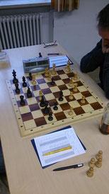 Das Brett 6 (Rainer Hacklinger mit Weiß) brennt im Kampf gegen Buchenberg!