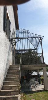 verrière extérieure fer forgé, terrasse