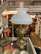 Brass Lamp with White Hobnail Shade $59.95