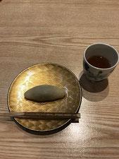 デザートは、餡を求肥で巻いた和菓子の一品。最後まで美味しかった(^^♪