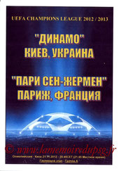 Programme pirate  Dynamo-Kiev  PSG  2012-13