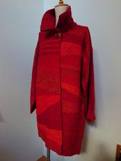 紅絹(もみ)の裂織り