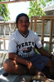 local man from klunglung ( Bali ) supporting to rescue turtle nest