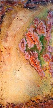 The Secret of the Desert 2018 (Acryl Stahl Modellierung, Strukturpaste, Bimsmehl, Pigmente, Tusche, Sand, Stahl) 50x100x4,5.... nicht mehr verfügbar