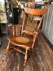 Pressed Back Oak Rocker Caned Seat $175.00