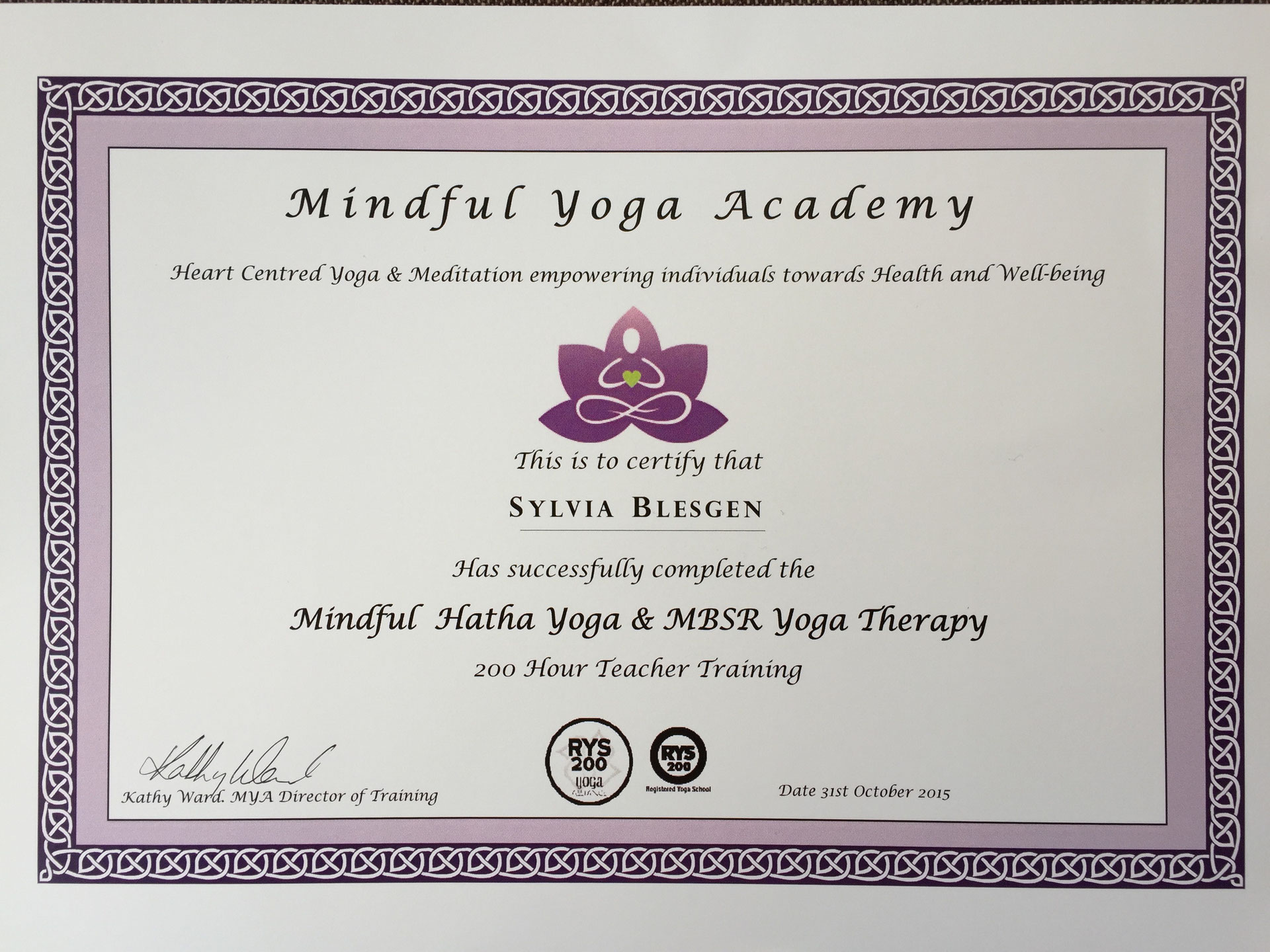 yoga certificate therapy mindful youlead hatha mbsr teacher format