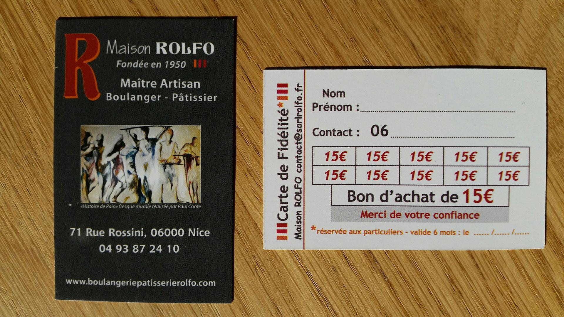 Carte Boulangerie.La Carte De Fidelite Boulangerie Patisserie Rolfo Nice