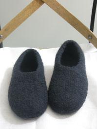 Filzhausschuhe für Kinder Groesse 35 dunkelblau ohne Lasche