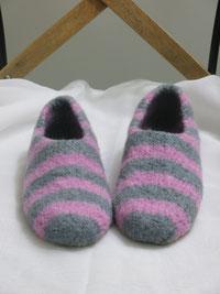 Filzschuhe für Teenies und Damen Groesse 37 grau rosa gestreift