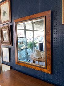 Beveled Mirror Burl Wood Frame $125.00