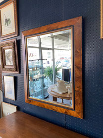 Beveled Mirror Burl Wood Frame $125.00  SOLD