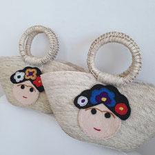Shopper mini, Kinder Tasche organisch, Kindertasche mit Frida, Handtasche Mädchen, Babies Tasche, mexikanische Tasche aus Palmenblatt