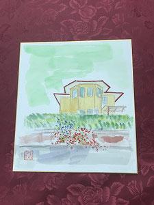 Eさん、「昨年戸建てからマンションに引っ越したので、前のお家を描きます」オシャレなお家が描かれました(^^♪