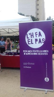 Point violet des Fêtes Patronales de Bellvitge, banlieue de Barcelone, septembre 2018