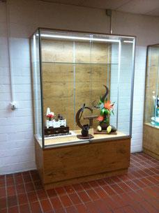 Ausstellungsvitrine mit LED Beleuchtung, Eiche Dekor Unterschrank und Rückwand. Glasböden über die halbe Tiefe.
