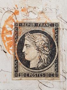 Timbre Cérès avec oblitération rouge de janvier 1849