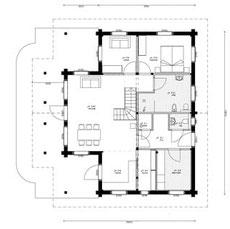 Erdgeschoss -Entwurf - Holzhausplanung - Gesundes ökologisches Bauen  -  Nachhaltiges Planen -  Hausplanung - Hauskauf - Blockhausspezialist  - Blockhaus Architekt -  Blockhausprofi - Blockhausexperten -  Blockhaus selber planen - Einfamilienhaus - Neubau