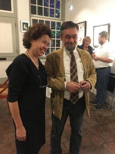 Anwar Abdoullaev samen met Lilja Zakirova in haar Galerie in Heusden aan de Maas, 2019