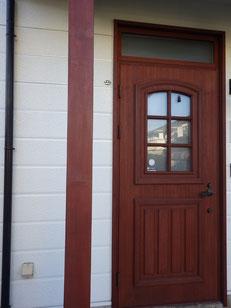 盛岡市玄関柱塗装後