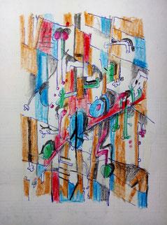 Kugelschreiber, Farbstift, Papier. 8 x 12 cm 16.1.2021.