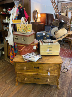 Antique Pine Two-Drawer Chest Old Paint $295.00