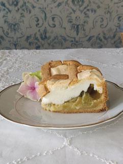 Hier der angeschnittene Kuchen: Du siehst, ich habe ihn ein wenig zu früh aus dem Ofen genommen und die Mitte ist etwas eingesunken. Am Geschmack ändert das nichts!