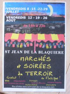 Affiche des Marchés et Soirées du Terroir à Saint Jean de la Blaquière - 34 -