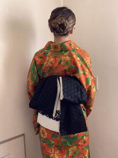 ウール着物 カジュアル着物 半幅帯 きものレッスンさくらさくら kimono