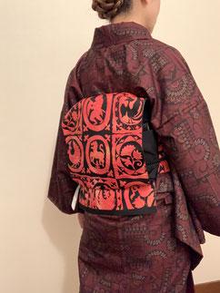 紬 袷着物 カジュアル きものレッスンさくらさくら kimono
