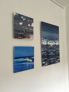 """Am Meer"" 30x30 cm, ""Wellenreiter"" 30x30 cm, ""Die Woge"" 50x70 cm"