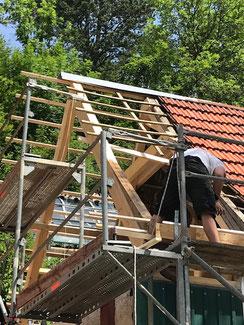 Einblick in die Sanierung des Hauses in Albstadt Tailfingen. Die Giebel mussten hier komplett neu gemacht werden.