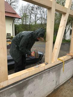 Montage der Fachwerk Wände in Balingen Erzingen.