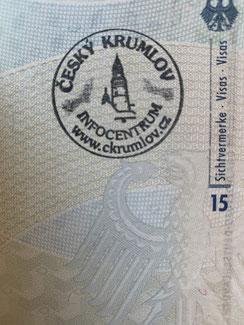 Stempel, Reisepass, Passstempel, coole, außergewöhnliche, Pass, seltene, entfernte Orte, Cesky Krumlov