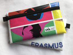 Upcycling, Recycling, Taschen, Etuis für Universitäten, Erasmus+, besonderes Willkommensgeschenk, Unikat, sozial, nachhaltig, Handarbeit, Werbemittel