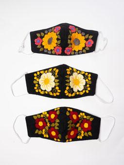 Mundschutz, Mund und Nasenschutz, Maske, Alltagsmaske, Corona Maske, Schutzmaske, bunte Maske mit Stickerei