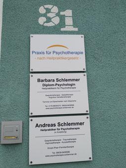 Praxisschilder der Praxis für Psychotherapie Barbara Schlemmer Dipl. Psychologin