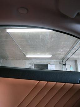 アルファロメオGT、助手席側の天井の煙草焦げ穴(タバコこげ穴)リペア(補修・修理・修復)後の写真