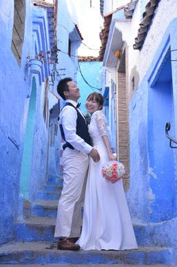 モロッコ・青い街シャウエンでのフォトウェディング撮影♡