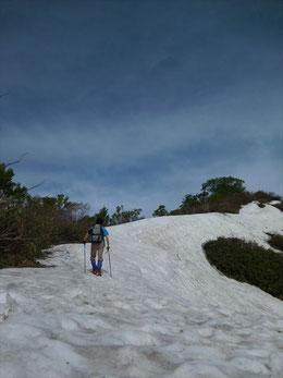 ▲小朝日岳への北側斜面