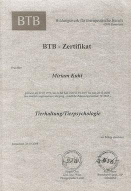 BTB-Zertifikat Tierhaltung/Tierpsychologie