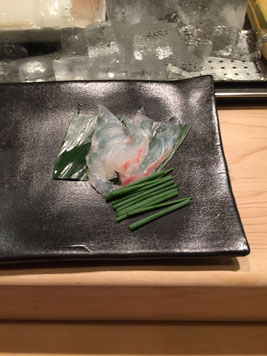 Sebring with  chives. I mastered rolling the chives with a thin slice of seabring!
