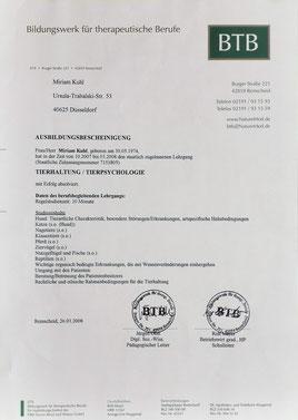 Ausbildungsbescheinigung Tierhaltung/Tierpsychologie