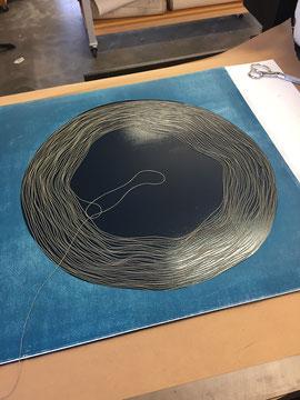 spiral, mono print, string, life, ink, circle