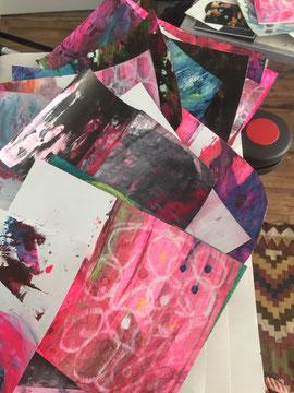 abstract art, art mess, circles, loops, pink